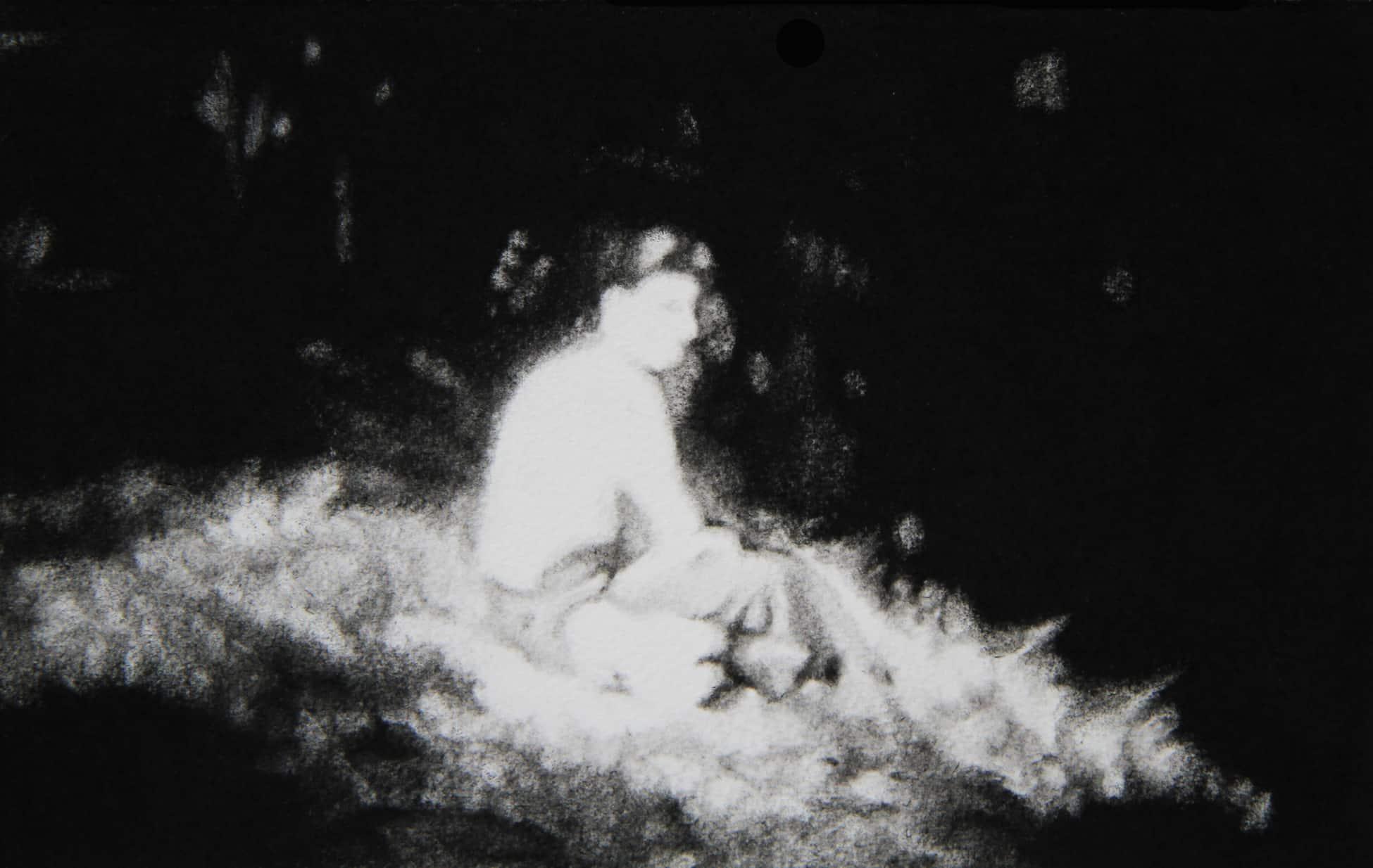 © Mathieu Dufois, Hors vue 14, dessins à la pierre noire, 16,5 x 25 cm, 2019. Courtesy Galerie C.site