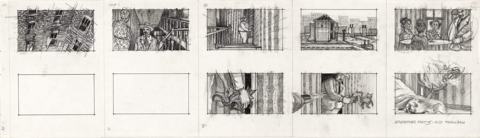 Alex Tavoularis, Godfather Part II, 1973, planche de storyboard sur papier en noir et blanc, crayon graphite et feutre. Collection Cinémathèque française © Alex Tavoularis