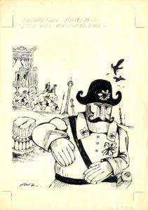 Fred, L'ile des Brigadiers - couverture, 1975, encre sur papier - ink on paper - 29,5 x 42cm