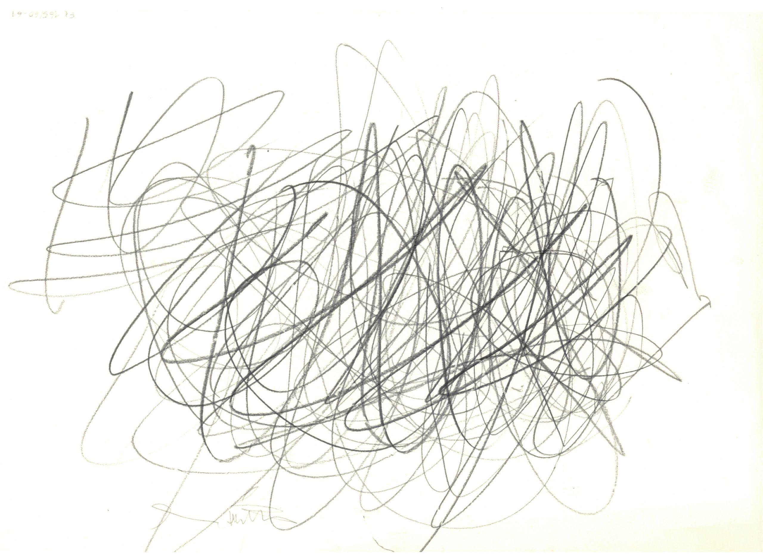 Galerie RX - Hermann NITSCH, Informelle Zeichnung, 1960, Crayon sur papier, 21 x 29,7 cm