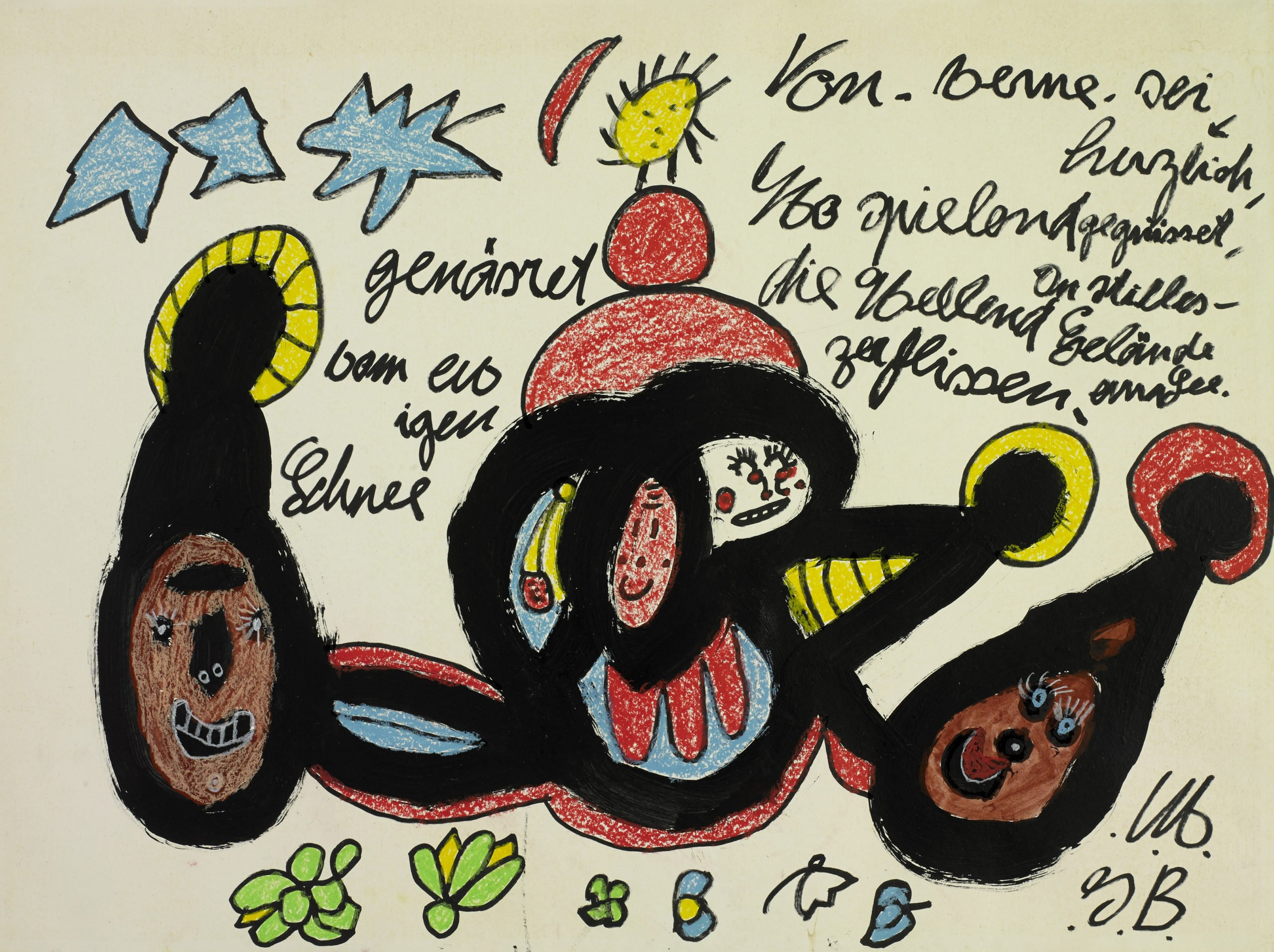 galerie gugging - Ida Buchmann, From. Berne. be greeted warmly, undated, acrylique, stylo Edding, craies grasses, acrylic, Sharpie marker, wax crayons, 66,1 x 90,2 cm, 8200€ - copie